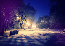 Winter Park In Snow. Fantastic Wintry Landscape. Frosty Evening In City Park. Snow Covered Trees Glowing In Light Lantern. Instagram Filter. Retro Vintage Style. Happy Christmas.