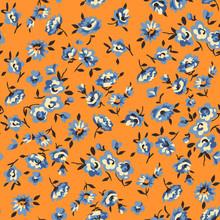 Little Blue Flowers On Orange ...