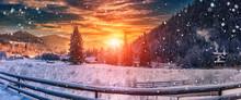 Majestic Sunset At Winter. Won...