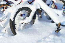 Bike Covered With Snow. End Of...