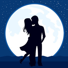 Illustration Of Silhouette Couple Kissing With Full Moon On Background