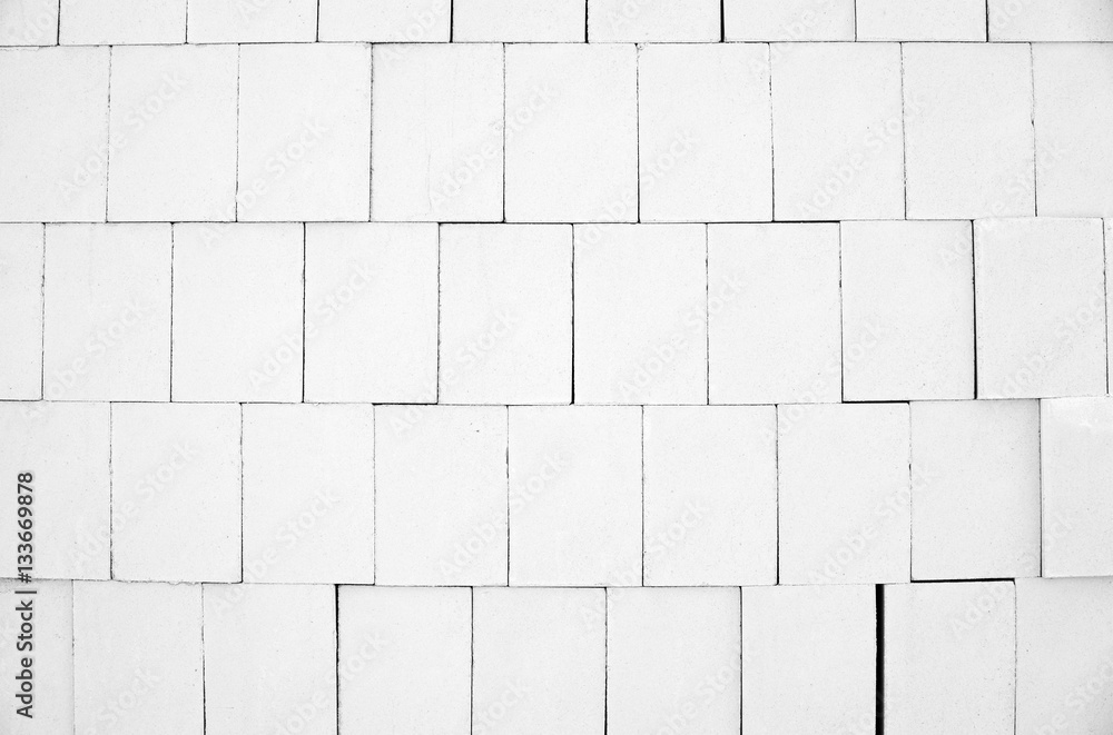 Photo & Art Print White calcium silicate bricks piled high in stack ...