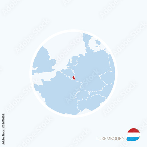 Map Icon Of Luxembourg Blue Map Of Europe With Highlighted