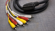 Audio Video Cable. Scart Cable On White Background