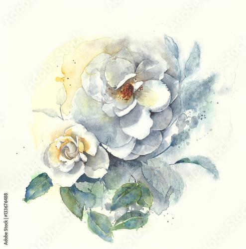 Róże kwitną bukiet akwareli obrazu ilustrację