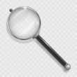 Magnifier for information search with a transparent magnifying glass and transparent shadow in vector graphics