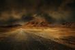 canvas print picture - montagne désert vierge route chemin seul climat chaud sécheresse
