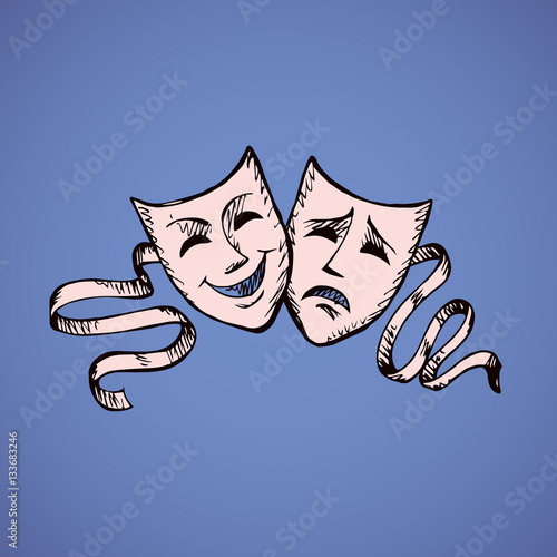Fotomural Comedy and tragedy theatrical masks. Vector illustration