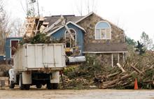 Tree Removal At A Tornado Damaged House