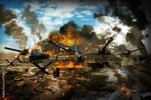 Fotografia  Battle Tank in the war zone