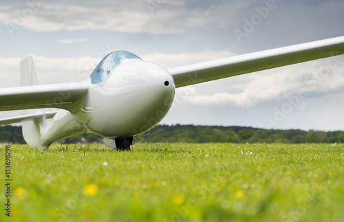 Segelflugzeug auf einer grünen Wiese