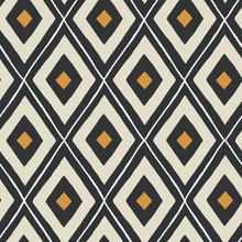 Ethnic Seamless Pattern In Black, Gold And Cream.
