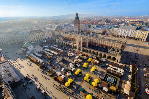 Fototapeta Day time aerial sityscape of central square with Christmas fair in Krakow old city, Poland obraz