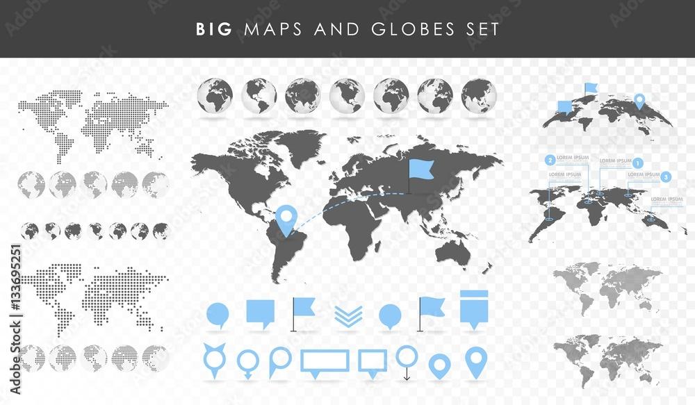 Duży zestaw map i globusów. Kolekcja pinów. Różne efekty. Przejrzyste ilustracji wektorowych <span>plik: #133695251 | autor: vectorplus</span>