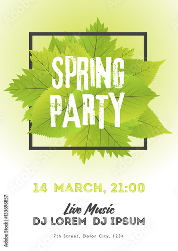 Spring night club party flyer invitation vector illustration poster spring night club party flyer invitation vector illustration poster template white and green background stopboris Choice Image