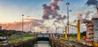 canvas print picture - Panama Canal on boat looking forward