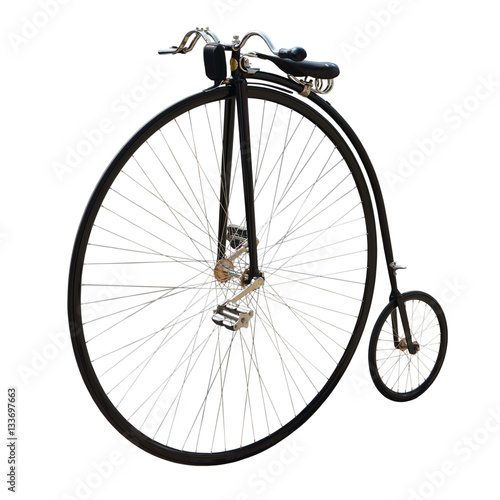 Bicycle with a large front wheel. Fototapeta