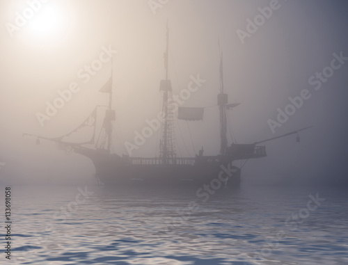 Spoed Foto op Canvas Schipbreuk mysterious ghost ship on foggy water