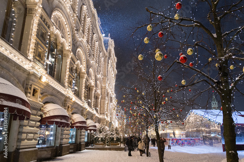 Russia, Moscow, Red Square, STate Historical Museum with a Christmas decorations during winter snowing night.
