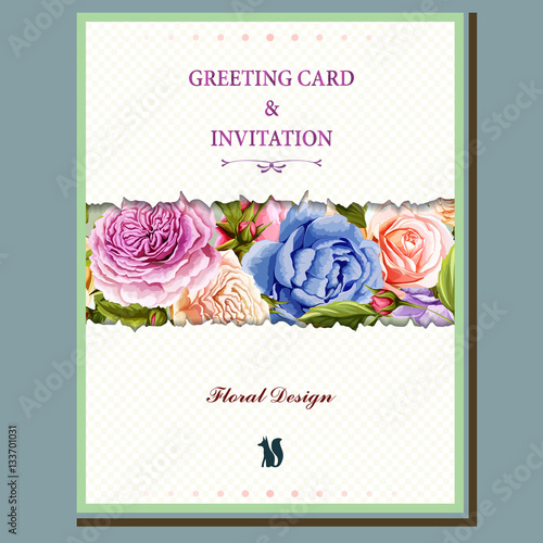 Greeting Card With Rose Bud And Peony Watercolor Hand