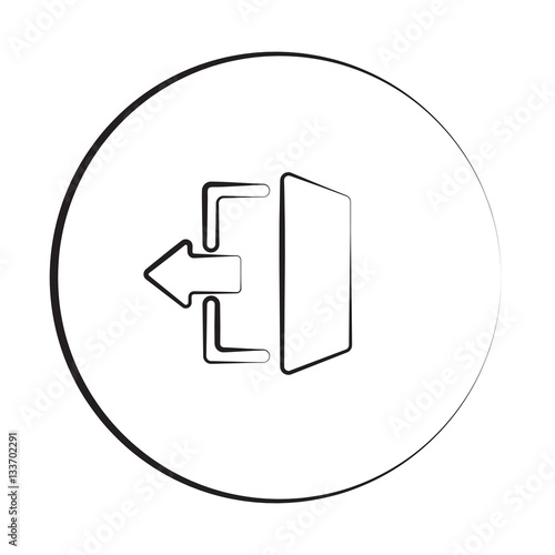 Black ink style Exit icon with circle Wall mural