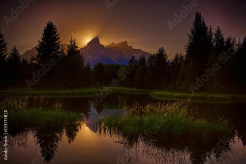 Obraz na płótnie Sunset at the Grand Teton National Park, Schumaker Landing,