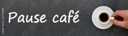 Fotografie, Obraz  Pause café sur ardoise