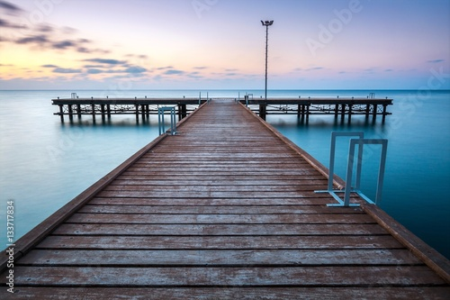 Foto op Canvas Cyprus Pier on lake at sunset, Argaka, Paphos, Cyprus