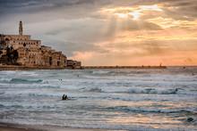 Surfers At Sunset - Jaffa, Nea...