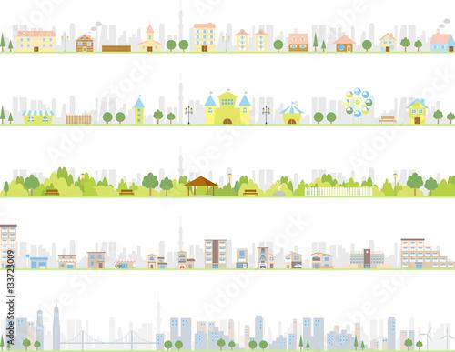 街並み セット 都市背景