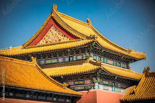 A temple in The Forbidden City, Beijing, China. Poster