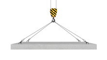 Rendering Of Crane Hook Lifting Concrete Panel On The White Background
