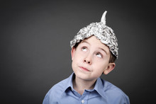 Boy In A Tin Foil Hat Looking Up