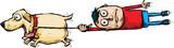 Kreskówka mężczyzna zostaje ściągnięty z nóg przez podekscytowanego, biegnącego psa.