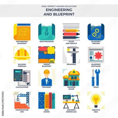 Engineering and blueprint flat icon set buy this stock vector and engineering and blueprint flat icon set malvernweather Image collections