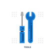 Tools Wrench And Screwdriver Flat Icon.