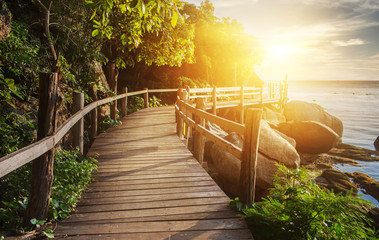 Fototapeta na wymiar Thailand sunset view from wooden bridge on koh Phangan island