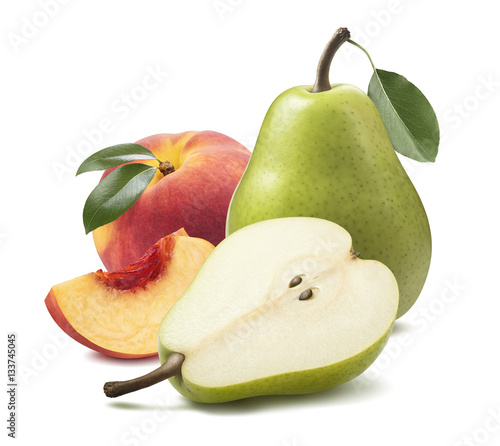 Green pear peach isolated on white background