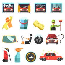 Flat Vector Car Wash Icons.