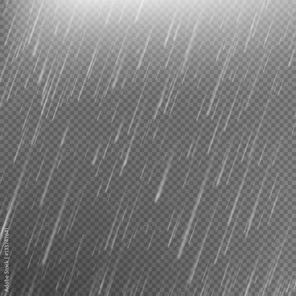 Fototapeta Rain transparent template background. EPS 10