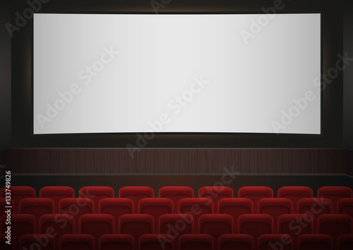 Interior Of A Cinema Movie Theatre Red Cinema Or Theater Seats In Front Of White Blank Screen Empty Cinema Auditorium Vector Background Buy This Stock Vector And Explore Similar Vectors At