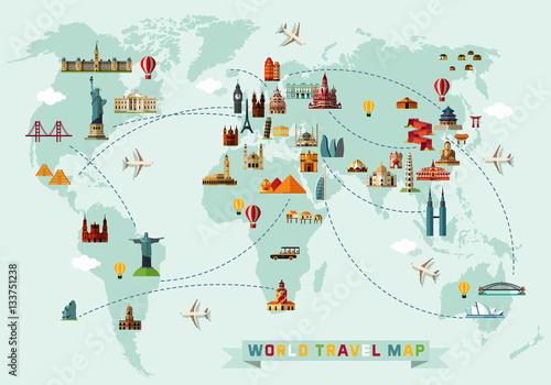 Fototapeta mapa świata dla dzieci  mapa-swiata-i-ikony-podrozy