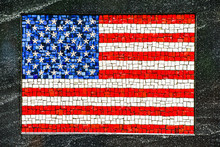 American Flag Made Of Little Mosaic Tiles