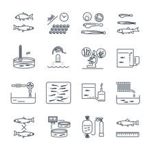 Set Of Thin Line Icons Aquacul...