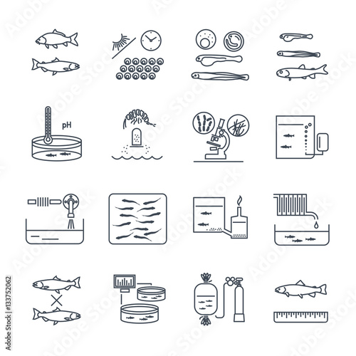 Photo set of thin line icons aquaculture production process, fish farming
