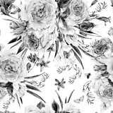 Bezszwowe tło wiosna akwarela z różami - 133753647