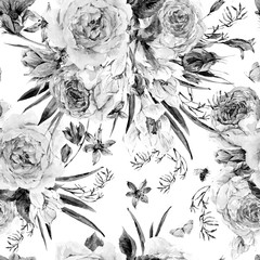 FototapetaWatercolor spring seamless background with roses
