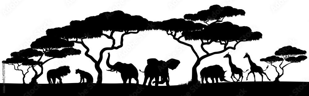 Fototapety, obrazy: Silhouette African Safari Animal Landscape Scene
