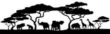 Silhouette African Safari Anim...