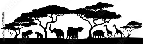 Silhouette African Safari Animal Landscape Scene Wallpaper Mural